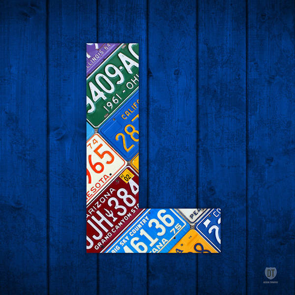 Letter Mixed Media - Letter L Alphabet Vintage License Plate Art by Design Turnpike