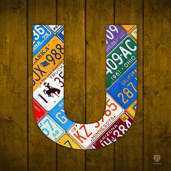Letter Mixed Media - Letter U Alphabet Vintage License Plate Art by Design Turnpike