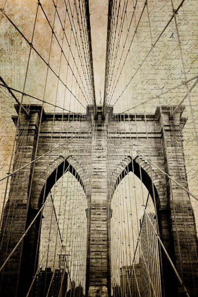 Photograph - Letters From Brooklyn - Brooklyn Bridge by Joann Vitali