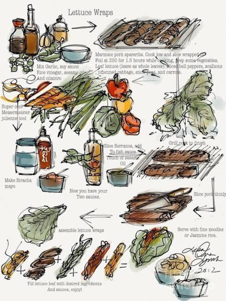 Painting - Lettuce Wraps by Lisa Owen-Lynch