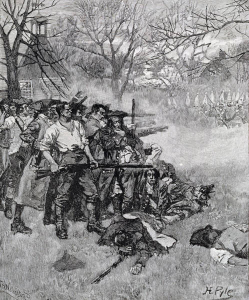 Brandywine Wall Art - Photograph - Lexington Green - If They Want War, It May As Well Begin Here, Engraved By F.h. Wellington by Howard Pyle