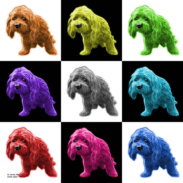 Painting - Lhasa Apso Pop Art - 5331 - V2- M by James Ahn