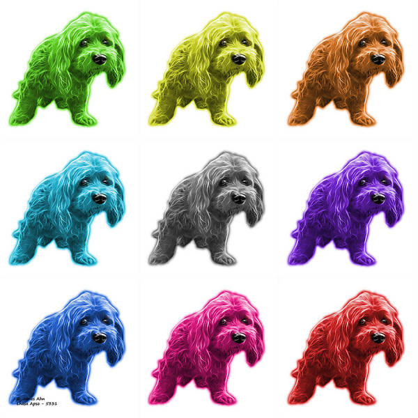 Painting - Lhasa Apso Pop Art - 5331 - Wb- M by James Ahn