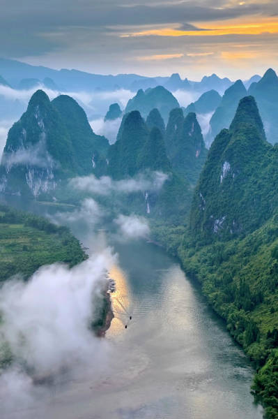 Cloudy Photograph - Li River by Hua Zhu