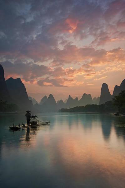 Raft Wall Art - Photograph - Li River Sunrise by Yan Zhang