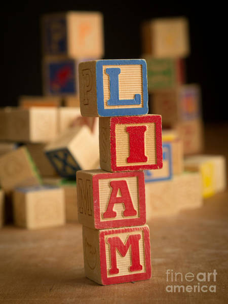 Baby Name Wall Art - Photograph - Liam - Alphabet Blocks by Edward Fielding