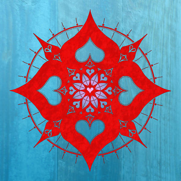 Sacred Heart Digital Art - lianai Hearts mandala by Peter Barreda