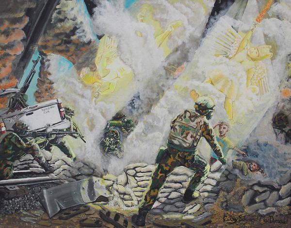 Flaming Sword Painting - Liberator's Guardian Angles by Carey MacDonald