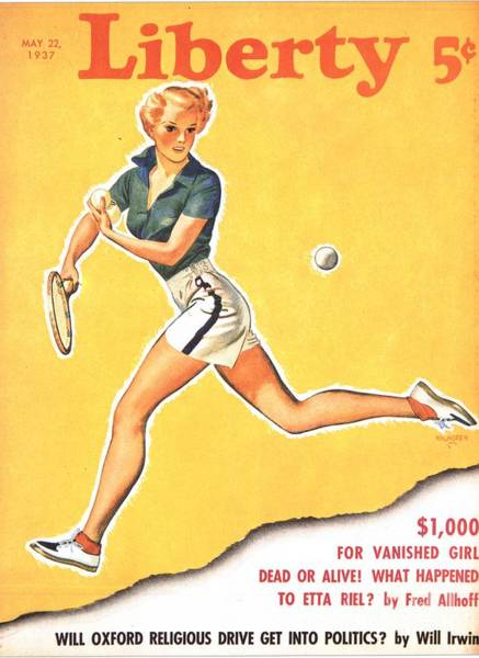 Nineteen-thirties Wall Art - Drawing - Liberty 1937 1930s Usa Tennis Magazines by The Advertising Archives