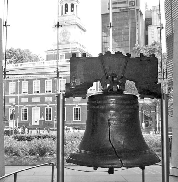 Wall Art - Photograph - Liberty Bell And Independence Hall Bw by Barbara McDevitt