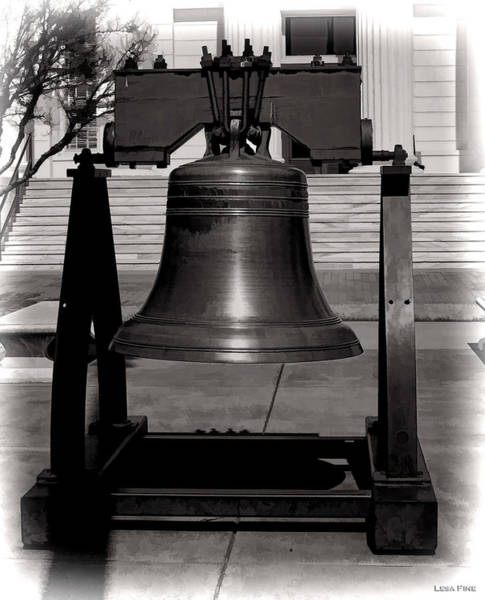 Photograph - Liberty Bell Alabama State Capital Building Bw  by Lesa Fine