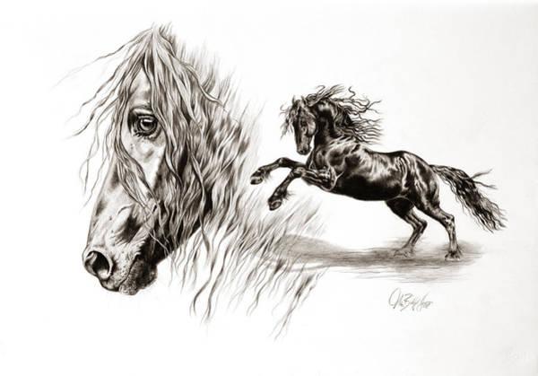 Friesian Drawing - Liberty Noir by Art Imago