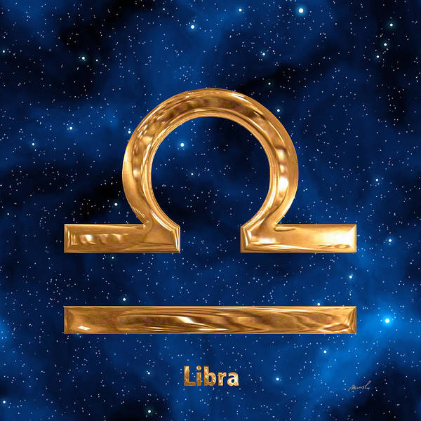 Signs Of The Zodiac Painting - Libra by The Art of Marsha Charlebois