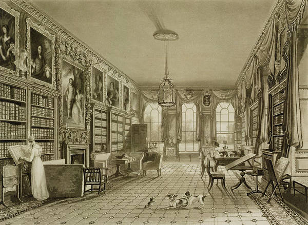 Georgian Drawing - Library As Sitting Room, Cassiobury by Augustus Welby Pugin