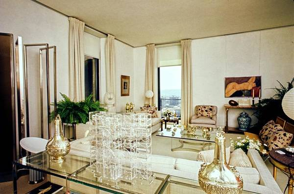 Coffee Photograph - Library In Marella Agnelli's Apartment In Rome by Karen Radkai