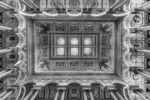Photograph - Library Of Congress Main Hall Ceiling Bw by Susan Candelario