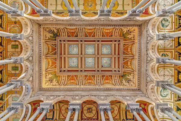 Photograph - Library Of Congress Main Hall Ceiling by Susan Candelario