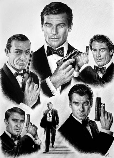 Hand Drawn Drawing - Licence To Kill  Bw by Andrew Read