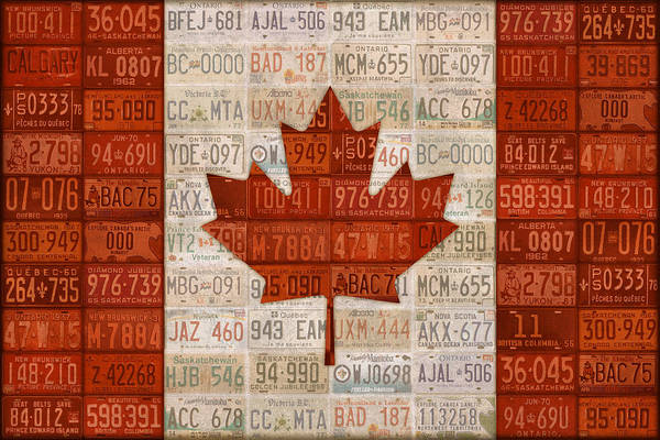 Vintage Automobiles Mixed Media - License Plate Art Flag Of Canada by Design Turnpike