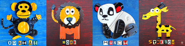 Wall Art - Mixed Media - License Plate Art Jungle Animals Series 1 by Design Turnpike
