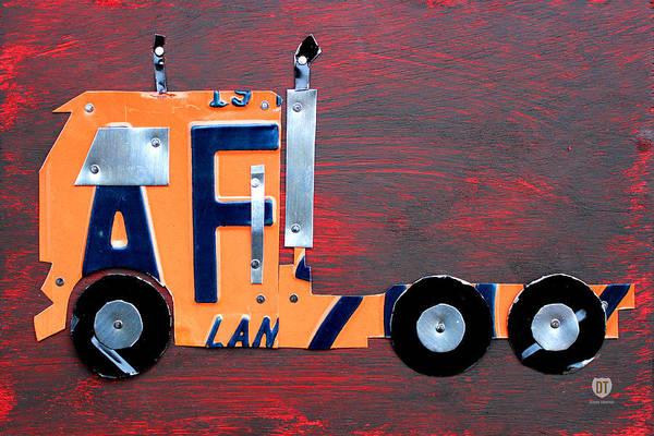 Semi Truck Wall Art - Mixed Media - License Plate Art Semi Truck by Design Turnpike