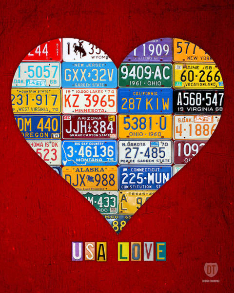 American Car Mixed Media - License Plate Heart Art Usa Love Vintage Colorful Car Tags by Design Turnpike