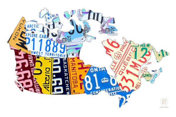 Handmade Wall Art - Mixed Media - License Plate Map Of Canada On White by Design Turnpike