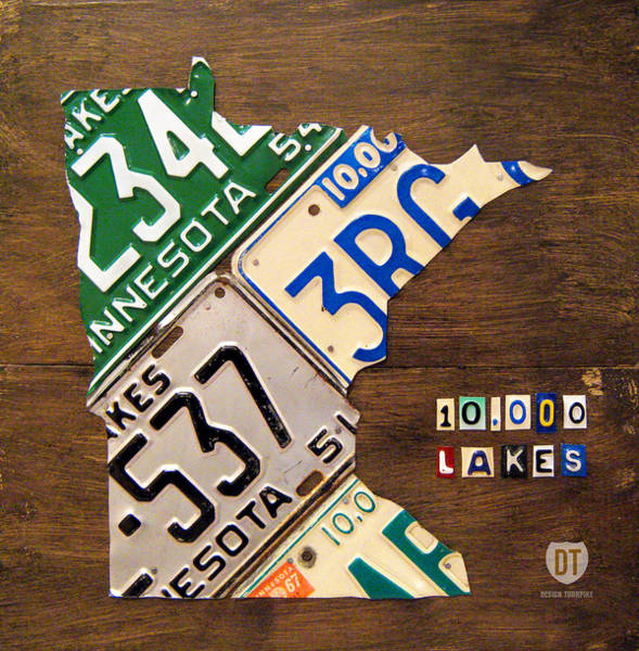 Vintage Automobiles Mixed Media - License Plate Map Of Minnesota By Design Turnpike by Design Turnpike