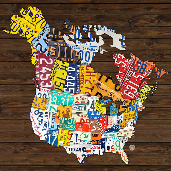 License Wall Art - Mixed Media - License Plate Map Of North America - Canada And United States by Design Turnpike