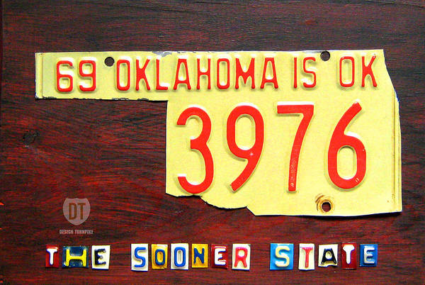 Recycling Mixed Media - License Plate Map Of Oklahoma By Design Turnpike by Design Turnpike