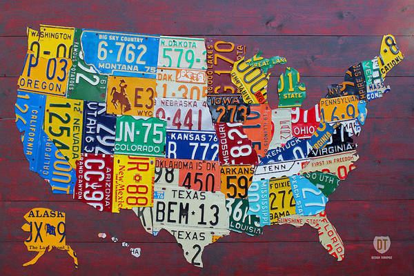 Vintage Automobiles Mixed Media - License Plate Map Of The United States by Design Turnpike
