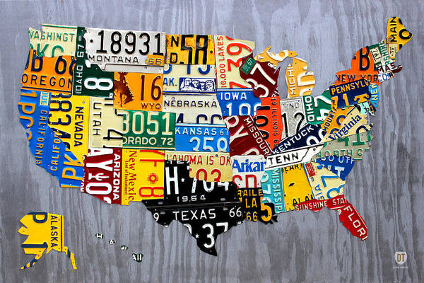 Recycling Mixed Media - License Plate Map Of The United States - Muscle Car Era - On Silver by Design Turnpike