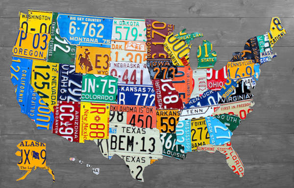 Recycling Mixed Media - License Plate Map Of The United States On Gray Wood Boards by Design Turnpike