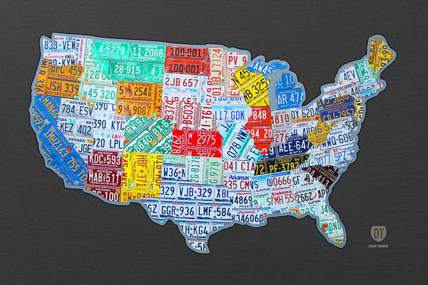 Vintage Automobiles Mixed Media - License Plate Map Of The Usa On Gray by Design Turnpike