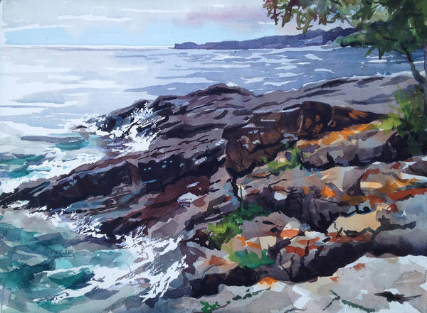 Lake Superior Wall Art - Painting - Lichen Covered Rocks by Spencer Meagher