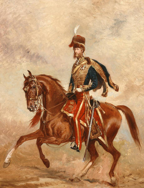 Chestnut Horse Painting - Lieutenant Colonel James Thomas Brudenell  by Alfred de Prades