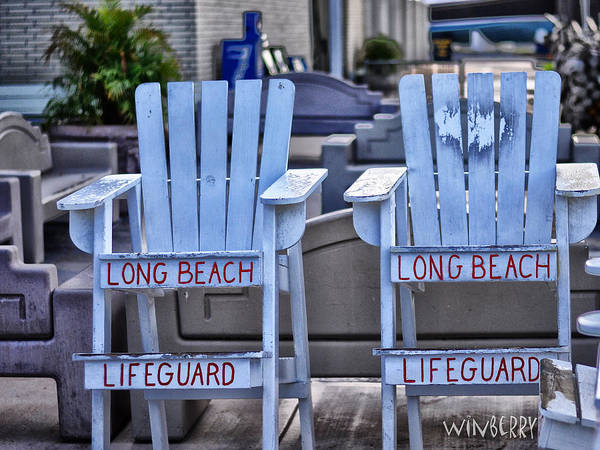 Digital Art - Life Guard Chairs by Bob Winberry
