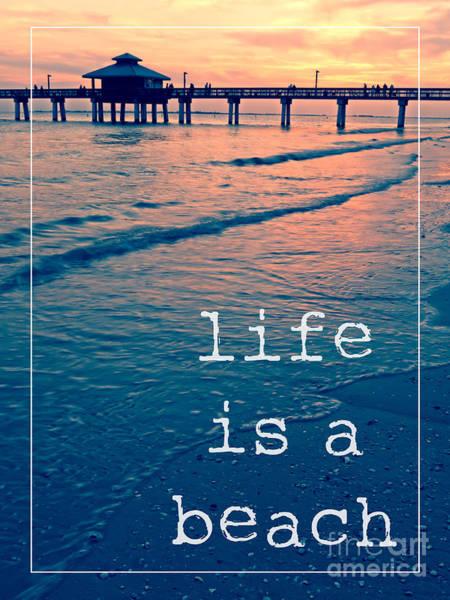 Photograph - Life Is A Beach Sunset Pier by Edward Fielding