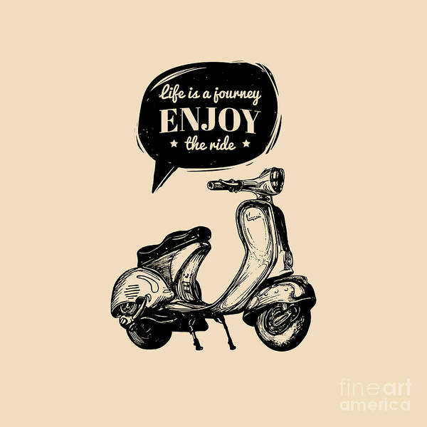 Typographic Wall Art - Digital Art - Life Is A Journey, Enjoy The Ride by Vlada Young