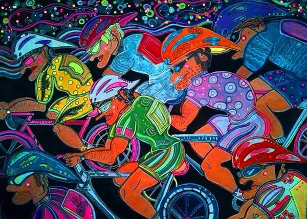 Cycling Helmet Painting - Life On The Run by Lucia Cullinane Garcia