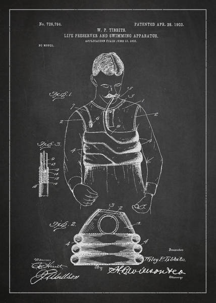 Wall Art - Digital Art - Life Preserver And Swimming Apparatus Patent Drawing From 1903 by Aged Pixel