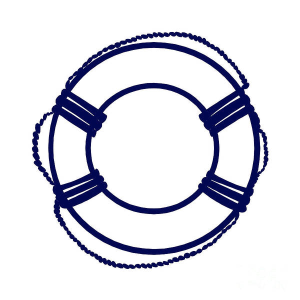 Parts Of A Boat Digital Art - Life Preserver In Navy Blue And White by Jackie Farnsworth