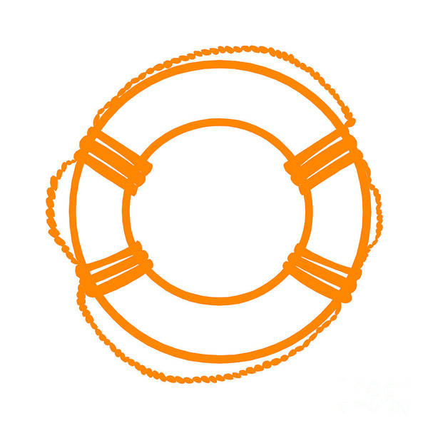 Parts Of A Boat Digital Art - Life Preserver In Orange And White by Jackie Farnsworth