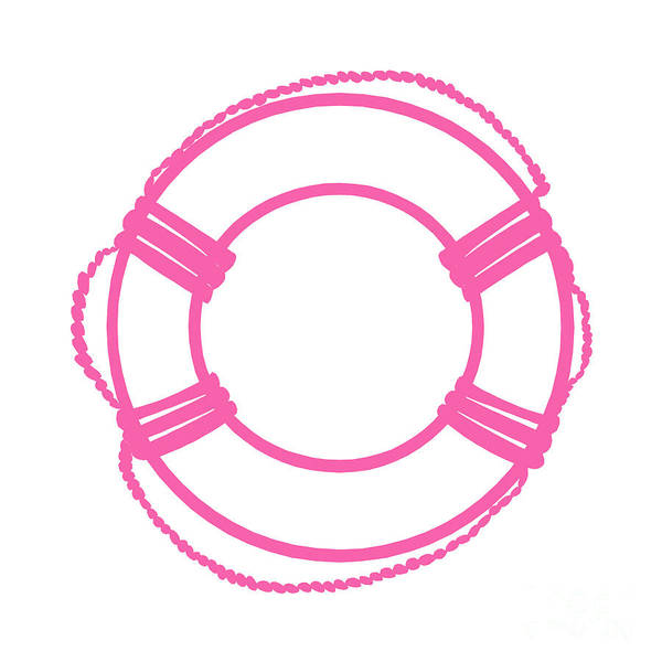 Parts Of A Boat Digital Art - Life Preserver In Pink And White by Jackie Farnsworth