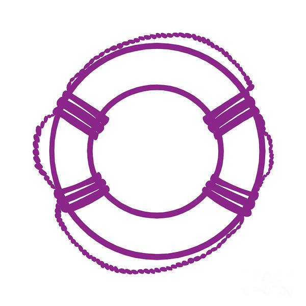 Parts Of A Boat Digital Art - Life Preserver In Purple And White by Jackie Farnsworth