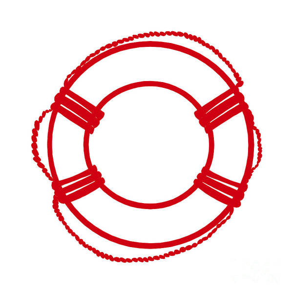 Parts Of A Boat Digital Art - Life Preserver In Red And White by Jackie Farnsworth