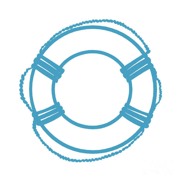 Parts Of A Boat Digital Art - Life Preserver In Turquoise And White by Jackie Farnsworth