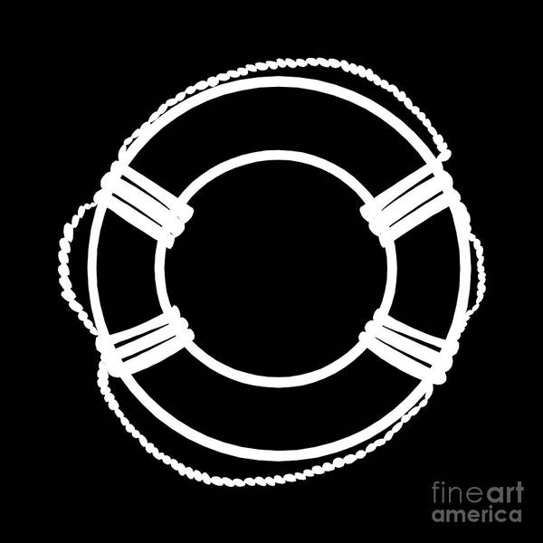 Parts Of A Boat Digital Art - Life Preserver In White And Black by Jackie Farnsworth