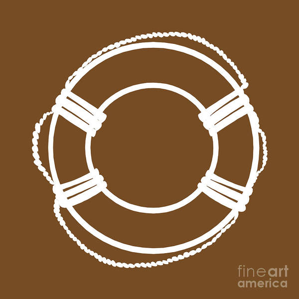 Parts Of A Boat Digital Art - Life Preserver In White And Brown by Jackie Farnsworth