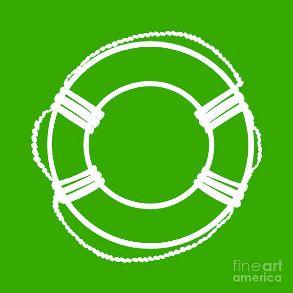 Parts Of A Boat Digital Art - Life Preserver In White And Green by Jackie Farnsworth